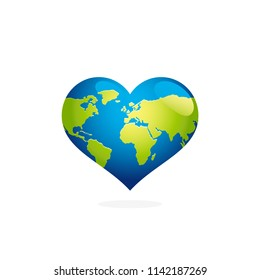 Earth day heart shaped globe illustration. Green planet map stock image.