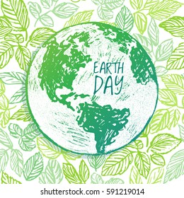 Earth Day ink hand drawn illustration with globe on green background