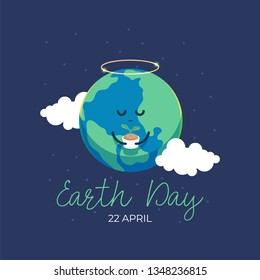 Earth day international awareness day. Cute cartoon of globe earth holding plant buds. Flat vector design for campaign, poster, web,mobile, social media post.