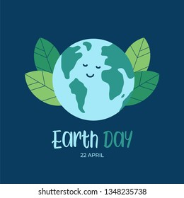 Earth day international awareness day. Happy cartoon of globe earth.  Flat vector design for campaign, poster, web,mobile, social media post.