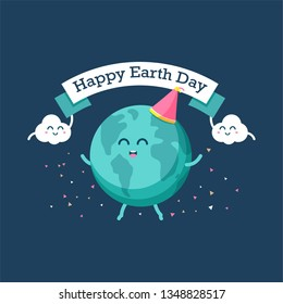 Earth day international awareness day. Happy cartoon of earth and cloud celebrate together. Flat vector design for campaign, poster, web,mobile, social media post.