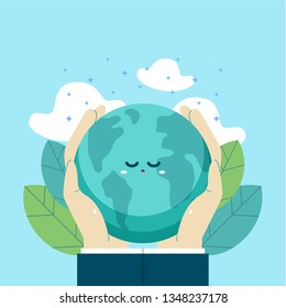 Earth day international awareness day. Human hand take care of cute globe earth. Flat vector design for campaign, poster, web,mobile, social media post.