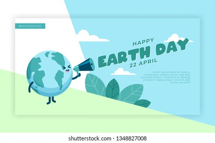Earth day international awareness day landing background. Cute globe earth holding megaphone to  express earth day. Flat vector design for campaign, poster, web,mobile, social media post. eps 10
