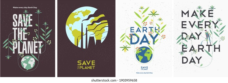 Earth Day. International Mother Earth Day. Environmental problems and environmental protection. Smoking pipes. Vector illustration. Set of vector illustrations
