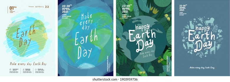 Earth Day. International Mother Earth Day. Earth Plants and Animals. Environmental problems and environmental protection. Vector illustration. Set of vector illustrations