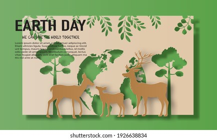 Earth Day, a landscape of deer family with trees, save the planet and energy concept, paper illustration, and 3d paper.