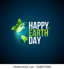 """Earth day logo design. """"Happy Earth Day, 22 April"""". World map background vector illustration. - Vector"""