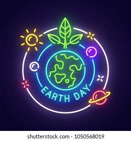 Earth Day neon sign, bright signboard, light banner. Happy Earth Day logo, emblem. Vector illustration