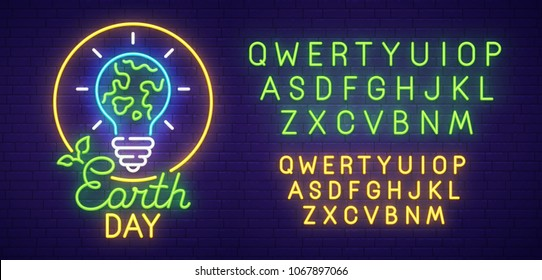 Earth Day neon sign, bright signboard, light banner. Happy Earth Day logo, emblem and label. Neon text edit