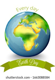 Earth Day planet vector. Watercolor globus with africa continent in the center. Place for text