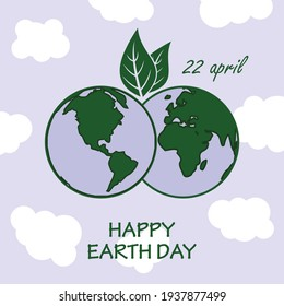 Earth Day poster, banner or greeting card. Vector illustration