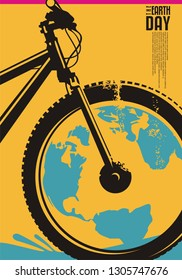 Earth day poster design concept with bicycle and globe shape. Ecology and environment theme. Vector flyer on yellow background.
