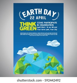earth day poster for event purpose, with blue light and polygonal earth illustration