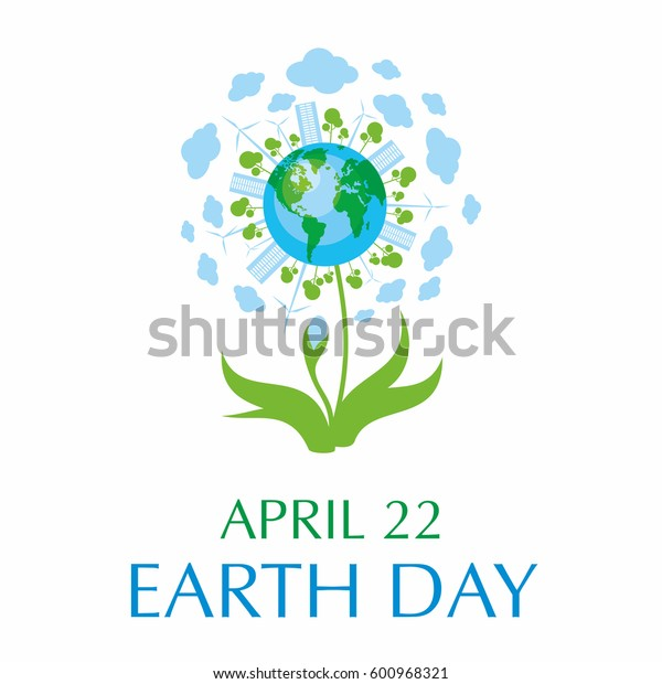 Earth day. A poster with a picture of the planet, cities, trees, and flower.