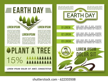 Earth Day posters with green nature environment design. Vector brochure for Save Earth and global ecology conservation concept with symbols of park plants and woodlands or garden trees