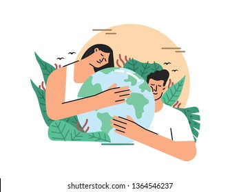 earth day of save earth illustration contains of man and woman holding or hugging earth sorounded by tropical leafs vector illustration