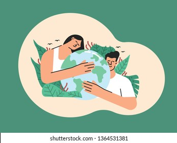 Earth day or save earth or love the earth illustration contains of a man and woman holding or hugging earth sorounded by a green leave of nature vector