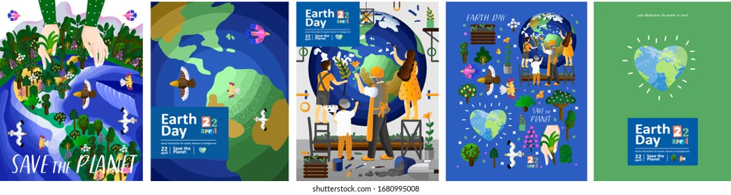 Earth Day! Set posters of metaphorical big hand caring forest; planet aerial view; people caring about planet; heart-shaped Earth and isolated objects. Vector cute illustration for card, postcard