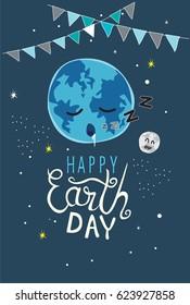 Earth day sleep vector cartoon