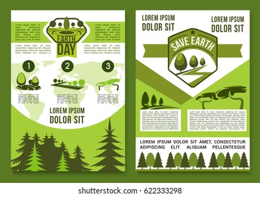 Earth Day vector brochures or posters set for Save Earth environment conservation concept. Ecology global protection event design of green nature, park and garden trees, plants and woodlands