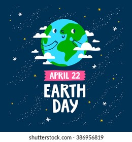 Earth day vector cartoon card