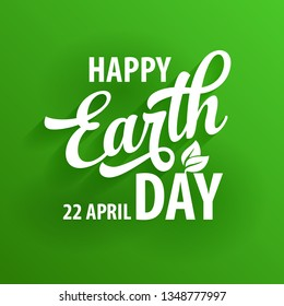 Earth day vector green flat poster design template
