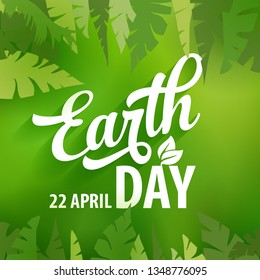 Earth day vector green leaves poster design template