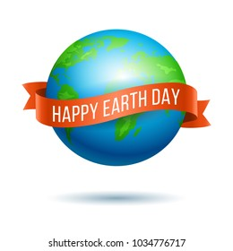 Earth Day. Vector illustration of globe planet with red ribbon