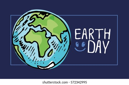 Earth Day. Vector illustration with the words and planet. Hand drawn illustration.