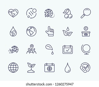 Earth Day Vector Line Icons Set. Editable Stroke. 32x32 Pixel Perfect