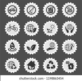 earth day web icons stylized postage stamp for user interface design