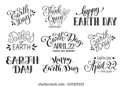 Earth day wording isolated on white background. Save our planet text. April 22. Think green.