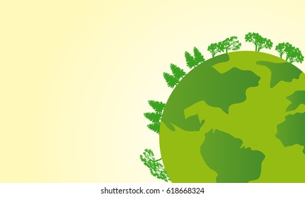 Earth day with world and green tree background