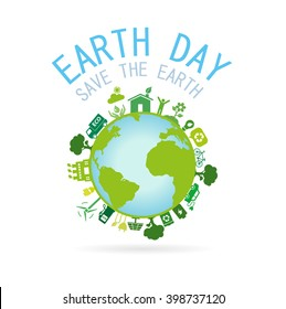 Earth Day.Save the Earth concept.Vector illustration