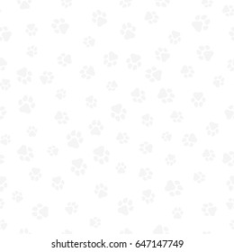 The earth dog. A pattern of canine tracks of different sizes. Traces of a light gray dog on a white background. Vector illustration in a flat style