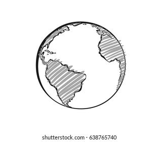 Earth drawing on white background. World map in doodles or globe retro style. Environment design for earth day.