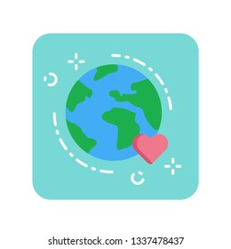 Earth flat color icon. Environmental protection concept. Save planet. Eco friendly. Sign for web page, mobile app, banner, social media. Pictogram UI/UX user interface. Vector clipart.