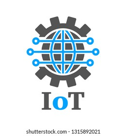 Earth in the form of a gear. Iot Gear Planet AI. Concept of global implementation of Iot and Industry 4.0. Internet of things, AI , Industry 4.0 technology Illusration. Innovative Technologies.