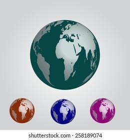 Earth four color vector EPS10.