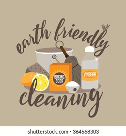 Earth friendly cleaning naturally with baking soda, vinegar and lemon flat design EPS 10 vector illustration
