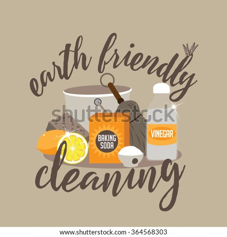 Earth Friendly Cleaning Naturally Baking Soda Stock Vector Royalty
