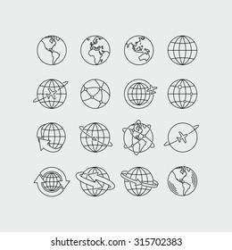 Earth Global Communication Vector Icons Set