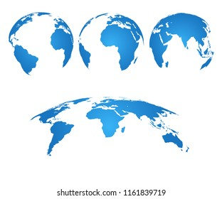 Earth globe. 3d world map with silhouette continents and oceans. Vector isolated set. Illustration of earth silhouette, asia and australia, america and europe