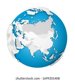 Earth globe. 3D world map with grey political map of countries dropping shadows on blue and oceans. Vector illustration.