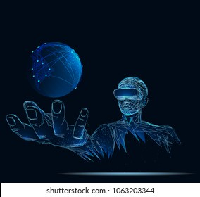 Earth globe against man executive using virtual reality simulator. Low poly vector illustration. 3D