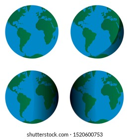 Earth Globe with American, African and Europe continent. Four type with different shadow for your logo,brand, web. Green and blue vector elements illustration isolated on white background