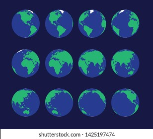 Earth Globe Animate Spinning Vector Illustration