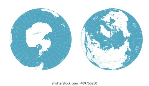 Earth globe arctic and antarctic view
