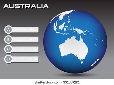 Earth globe with Australia map.Earth globe vector illustration.