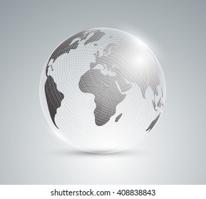Earth. Globe. Banner geography. Realistic globe.Glass globe with world map. Vector illustration. 10 eps